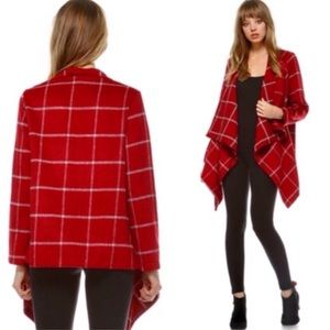 Jackets & Coats - Red Plaid Draped Open Front Jacket
